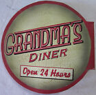 Grandma's Diner Kitchen Food Open All Day Classic Flange Metal Sign