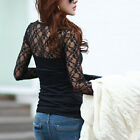 Women Lady O-Neck Cotton Tops Lace Long Sleeve Shirt Slim Blouse Black Top Hot