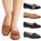 Womens Ladies casual slip flat bow fringe trim summer comfort black loafers size