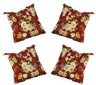 Set of 4 In/Outdoor Red Rose Floral Tufted Patio Chair Cushions - Choose Size