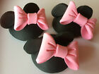 2 EDIBLE CUP CAKE TOPPERS CAKE DECORATIONS MICKEY MOUSE OR MINNIE MOUSE 3D HEADS