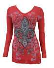 New Vocal Women V-neck Long Sleeve Shirt Lace Bottom Crystal Tribal Fleur in Red
