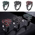 Fashion Women Crystal Colorful Rhinestone Peacock Feather Ring Jewelry New