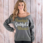 Thankful Grateful Blessed Off Shoulder long sleeve T-shirt  Xmas Gifts Shirt