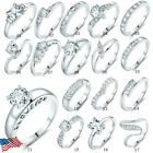 Women silver filled vintage rhinestone CZ crystal wedding jewelry rings lots 5-9