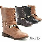 Womens Combat Military Lace Up  Flat Buckle Fashion Boots Faux Leather Shoes
