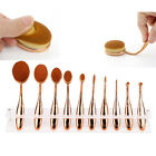 10Pcs Soft Oval Toothbrush Makeup Brush Set Foundation Brushes Tool Rose Gold d2