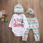 Christmas 4pcs Outfits Set Lovely Infant Baby Boy Girl Clothes Romper Pants Hats