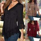 UK 8-24 Boho Women V Neck Lace Floral Crochet Casual Pleated Tops Shirt Blouse