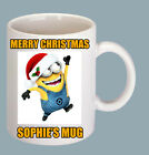 """CHRISTMASS GIFT-PERSONALISED MUGS """"MINION SANTA CLAUS"""" CHOOSE YOUR NAME"""