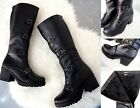 LADIES KNEE HIGH CHUNKY PLATFORM WOMENS GOTH COMBAT ZIPPER BOOTS WARM FUR SIZES