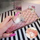 3D Grid Bling Diamond Crystal Soft Gel Ring Holder Stand Case Cover For iPhone 7