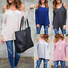 Womens Cold Shoulder Loose Shirt Blouse Ladies Casual Long Sleeve Cotton Tops