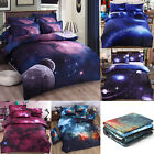 Galaxy Cosmos Night Pattern 3D Printed Single Queen Size Bedding Duvet Cover Set