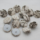 10 Fabric Covered Buttons - Vintage Floral Flower Typography Letters - Ivory