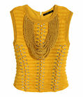 Balmain H&M Braided Rope Top with Embroidery Yellow Gold Size UK 14 16 EU 40 42