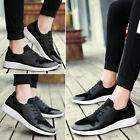 Fashion Sport Mens Leather Flat Breathable Casual Lace Up Comfort Shoes 2 Colors