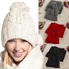 Women Trunky Knit Hat and Scarf Winter 2 PCS Set Knitting Skullcaps Warmer Wrap