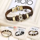 Women Men Handmade Multilayer Leather Cuff Wristband Anchor Bangle EN24H