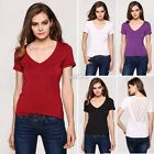 Ladies V-neck Short Sleeve Slim Casual Blouse S0BZ