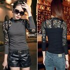 Women Lace Long Sleeve Knitted Sweater Tops Slim Fit Clubwear Blouse Pullover