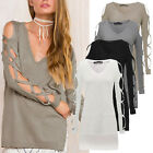 Plus Size AU 8-22 Women Sexy Long Sleeve Shirt Casual Blouse Loose T-Shirt Tops