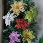 10pcs Christmas Flowers Xmas Tree Decorations Glitter Hollow Wedding Party 6inch