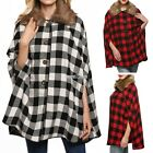 Women Casual Plaid Batwing Woolen Poncho Cloak Cape Coat New Sexy Hot S0BZ