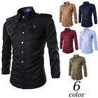 Men's 2016 New Frock Uniform multi-pocketed Long Sleeve Fitted Casual Shirt Tops