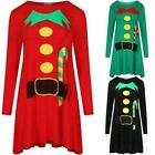 New Ladies Women's Long Sleeve Elf Print Christmas Tunic Swing Dress Plus 8-26