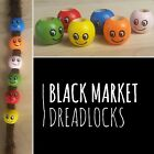 FREE HOOK 2 x Smiley Wooden Dreadlock Beads wood dread lock smile emoji cuff