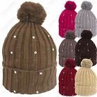 LADIES DIAMANTE GEM CHUNKY KNIT POMPOM BOBBLE WOMENS SKI HAT GIRL SLOUCH BEANIE