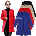 Outwear Wool Coat Slim Cardigan Woollen Jacket Women Black/Khaki Frock Solid S0B