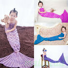 New Kids Baby Fish Scale Mermaid Tail Hand Crocheted Sofa Knit Lapghan Blanket