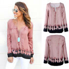 Women New Fashion Pink Blouse Ladies Casual Loose Long Sleeve Comfy Shirt Tops
