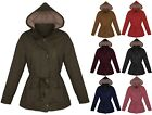 Womens Winter Parka Jacket Coat Faux Fur Lined Military Hooded Draw String S-3XL