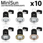 Pack of 10 MiniSun Recessed Fire Rated LED GU10 Downlights Ceiling Spotlight