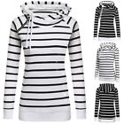 Casual  New Fashion Women Double Hooded Striped Long Sleeve Pullover Hoodie