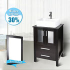 24'' Bathroom Vanity Floor Cabinet Wood Top Vessel Sink Basin Faucet Mirror Set