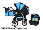 Junior Twist pram pushchair Travel System 3in1 from Baby Merc <br/> Fast delivery car seat included, front swivel wheels