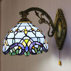 Vintage Style Stained Glass Wall Mounted Lamp with Pull Chain Fixture Room Decor
