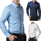 Mens Luxury Slim Fit Italian Designer Casual Formal Shirts Collared Tops White .