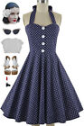 50s Style PLUS SIZE Miss Mabel NAVY BLUE POLKA DOT Print Pinup HALTER Sun Dress