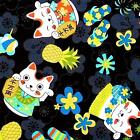 "Maneki-neko or ""Lucky Cat"" Hawaiian Print by Transpacific, Cotton Fabric"