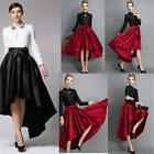 Women's Stretch Plain High Waist Flared Pleated Asymmetric Skirt Maxi Long Dress