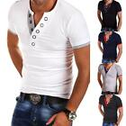 Stylish Men's Tee Shirt Slim Fit V Neck Short Sleeve Muscle Casual Tops T-Shirts