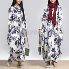 Women Oversized Vintage Long Sleeve Floral Printed Baggy Maxi Long Shirt Dresses