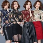 Women Floral Print Embroidered Lace Long Sleeve Tops Shirt Blouse Hipster