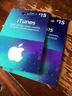Apple iTunes Gift Card Certificate Lot 2 $15. 30 Dollars Total