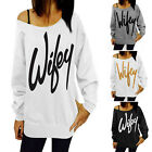Wifey Print Womens Long Sleeve Thin Hoodie Sweatshirt Pullover T-shirt Top SEAU